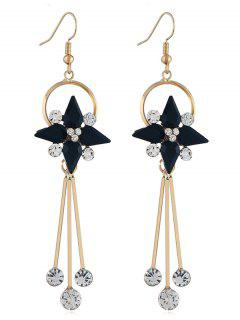 Floral Shape Rhinestone Tassel Hook Earrings - Black