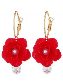 Artificial Pearl Floral Design Rhinestone Earrings - Red