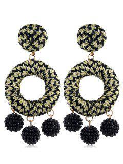 Bohemian Beads Ball Drop Earrings - Gold