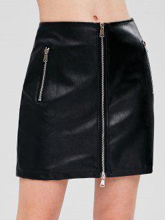 PU Leather Zip Up Mini Skirt - Black L