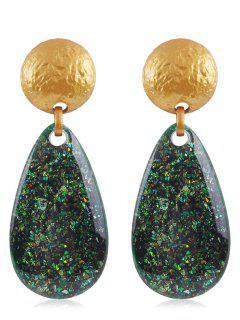 Ethnic Teardrop Resin Earrings - Dark Forest Green