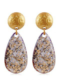 Ethnic Teardrop Resin Earrings - Gold