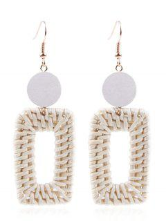 Round Square Straw Earrings - Multi-a