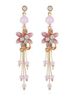 Rhinestone Flower Beads Tassel Long Hanging Earrings - Pig Pink