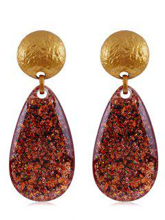 Ethnic Teardrop Resin Earrings - Chestnut Red
