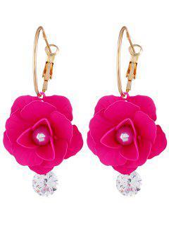 Pendientes Artificiales De Diamantes De Imitación De Perlas Artificiales - Rosa Roja