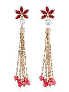 Floral Design Beads Chain Tassel Earrings - Red