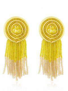 Bohemian Beaded Tassels Earrings - Yellow