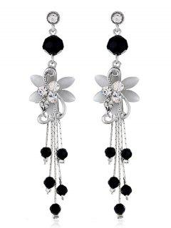 Rhinestone Flower Beads Tassel Long Hanging Earrings - Black