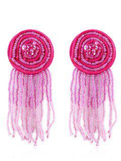 Bohemian Beaded Tassels Earrings - Rose Red