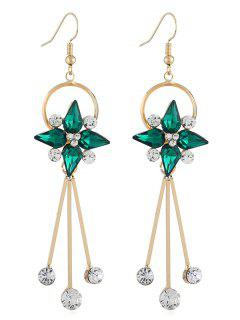 Floral Shape Rhinestone Tassel Hook Earrings - Green