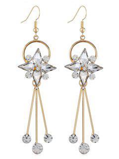 Pendientes De Ganchillo Borla De Diamantes De Imitación De Forma Floral - Transparente