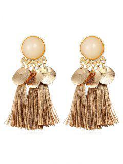 Bohemian Disc Tassels Earrings - Camel Brown