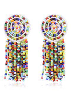 Bohemian Beaded Tassels Earrings - Multi-a