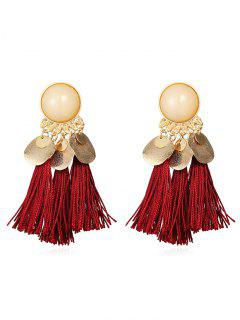 Bohemian Disc Tassels Earrings - Burgundy
