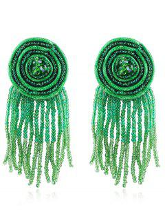 Bohemian Beaded Tassels Earrings - Beetle Green