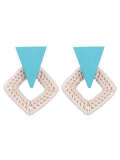 Rhombus Braided Straw Earrings - Light Sky Blue