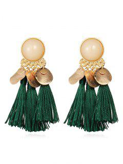 Bohemian Disc Tassels Earrings - Medium Sea Green