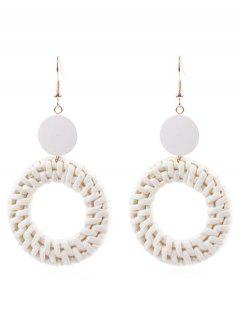 Circle Straw Drop Earrings - Milk White