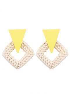 Rhombus Braided Straw Earrings - Yellow