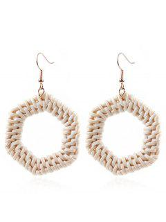 Hexagon Braided Straw Earrings - Multi-a