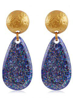 Ethnic Teardrop Resin Earrings - Blueberry Blue