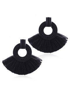 Bohemian Fan Tassels Earrings - Black