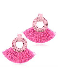 Bohemian Fan Tassels Earrings - Hot Pink