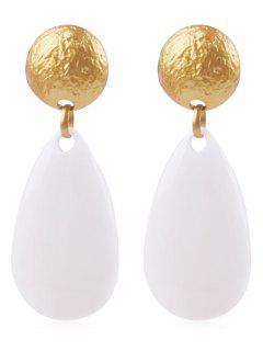 Ethnic Teardrop Resin Earrings - White