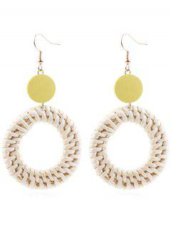 Circle Straw Drop Earrings - Sun Yellow