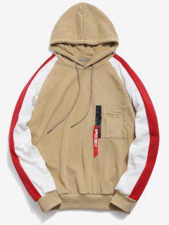 Zipper Pockets Raglan Sleeve Contrast Hoodie - Apricot Xs
