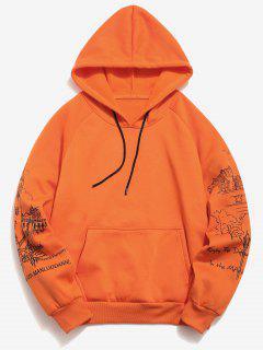Raglan Sleeve Buildings Print Hoodie - Pumpkin Orange M
