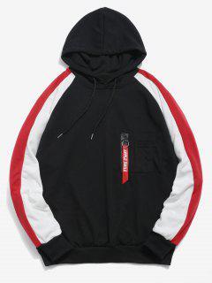 Zipper Pockets Raglan Sleeve Contrast Hoodie - Black M