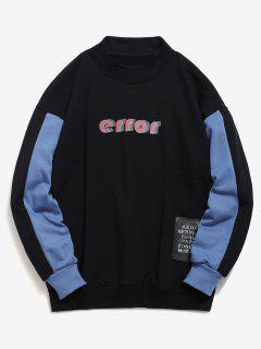 Letter Print Patch Detail Contast Sweatshirt - Black L