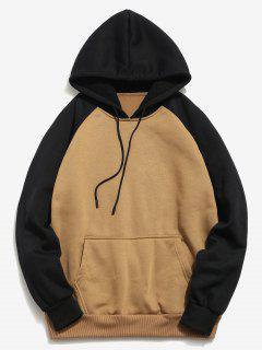 Color Block Pullover Hoodie - Dark Khaki M