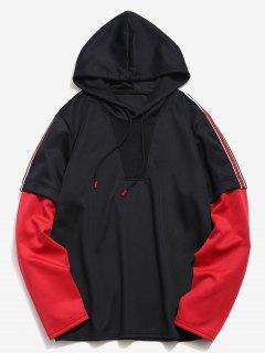 Color Block Striped Pullover Hoodie - Black L