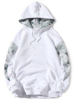 Kangaroo Pocket Back Slogan Print Patchwork Hoodie - White S