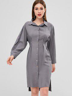 High Low Slit Shirt Dress - Gray S