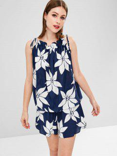 Floral Tie Two Piece Set - Dark Slate Blue