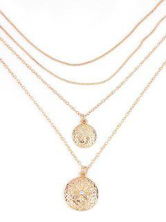Layered Round Shape Pendant Chain Necklace - Gold