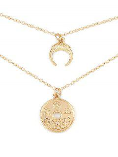 Round Coin Ox Corn Layered Necklace - Gold