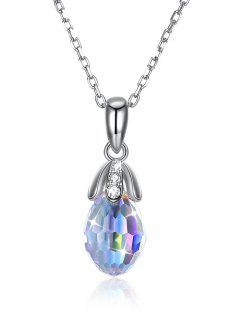 Water Drop Artificial Crystal Pendant Chain Necklace - White