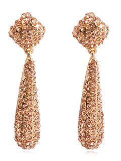 Teardrop Rhinestone Drop Earrings - Champagne Gold