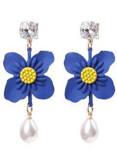Flower Faux Pearl Drop Earrings - Blue Orchid