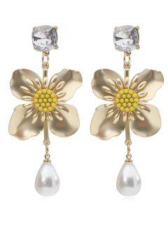 Flower Faux Pearl Drop Earrings - Gold