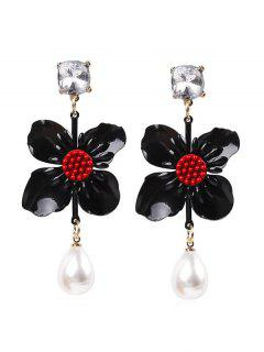 Flower Faux Pearl Drop Earrings - Black