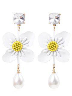 Flower Faux Pearl Drop Earrings - White