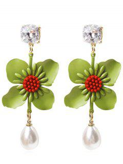 Flower Faux Pearl Drop Earrings - Yellow Green