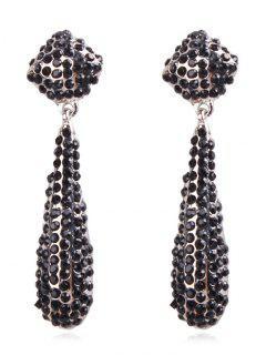 Teardrop Rhinestone Drop Earrings - Black