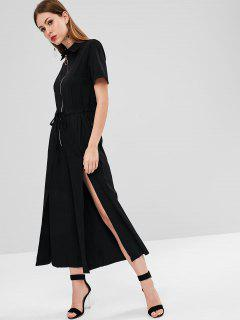 Half-zip Slit Wide Leg Jumpsuit - Black M